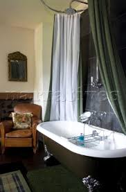 Free Standing Drapes Roll Top Bath With Shower Curtain And Rail Idea Blissful