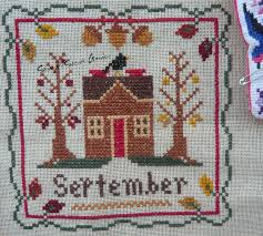 little house needleworks monthly sampler october cross stitch