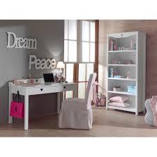 biblioth鑷ue chambre fille meuble bureau 2 tiroirs blanc décor coeurs ajourés design