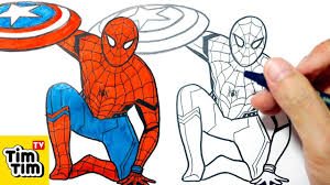 how to draw spiderman civil war easy step by step for kids art