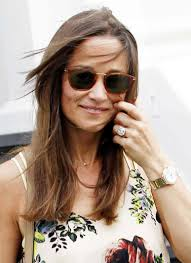 pippa middleton pairs engagement ring with bright floral dress