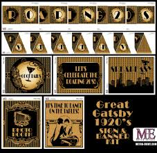 1920 u0027s party gatsby banners art deco signs flapper