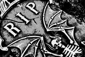 halloween tombstones on a black background halloween grunge rip bat skeleton wings on tombstone vector