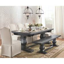 Grey Dining Room Furniture by Home Decorators Collection Aldridge Washed Black Extendable Dining