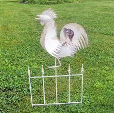 tin rooster fence trellis garden stake