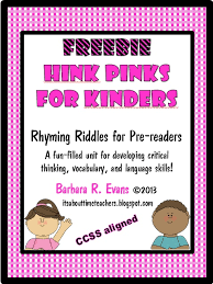 it s about time teachers hink pinks for kinders