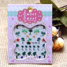 nail art sticker sea island coconut tree water transfers stickers