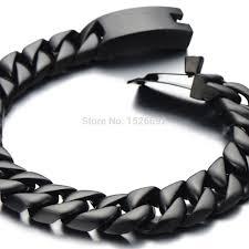 black bracelet men images Black cuban chain bracelet men black stainless steel curb chain jpg