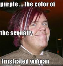 Frustrated Meme - purple the color of the sexually frustrated woman cheezburger