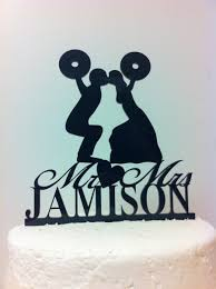 weight lifting cake topper silhouette weight lifting cross fit wedding cake