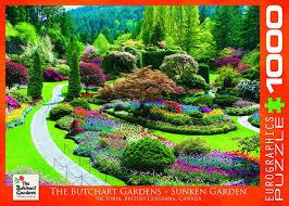 eurographics butchart gardens sunken garden jigsaw puzzle 1000