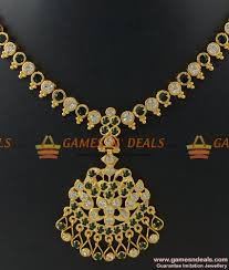 gold stones necklace designs images Nckn249 traditional aiympon big white green stone attigai jpg
