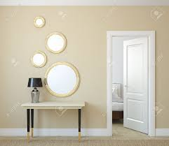 Contemporary Hallway Furniture by Modern Hallway With Open Door 3d Render Stock Photo Picture And