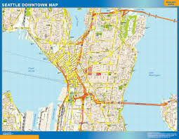 Topographic Map Seattle by Seattle Downtown Map Netmaps Usa Wall Maps Shop Online