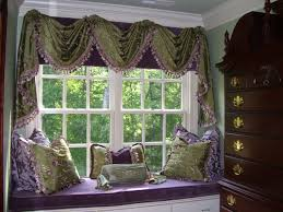 Bay Window Cushion Seat - vintage decoration bay window curtains valances purple cushions