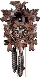 Authentic Cuckoo Clocks Clockway 13 5in Leaves U0026 Bird 1 Day Mechanical German Black