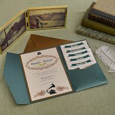 pocket invitations vintage jade and antique gold wedding pocket invitation cards