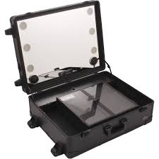 rolling makeup case with lighted mirror amazon com sunrise makeup case with lights c6252 portable rolling