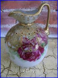 Antique Hand Painted Vases Antique Nippon Moriage Pitcher Ewer Vase Flowers Roses Gold Hand