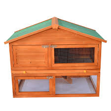 Rabbit Hutch Wood Pawhut 54 In Wooden Rabbit Hutch Bunny House With Outdoor Run