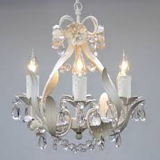 Contemporary Light Fixtures by Mini White Floral Hanging Crystal Chandelier Light Fixture 4 Light