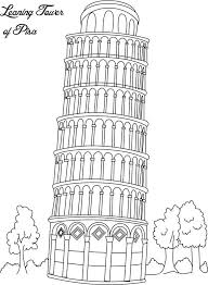 collection landmarks coloring pages leaning
