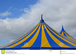 Blue Flag With Yellow Stripe Blue And Yellow Striped Circus Big Top Tent Stock Photo Image Of