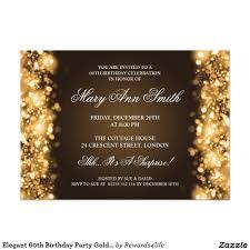 elegant 60th birthday party gold sparkling lights card birthdays
