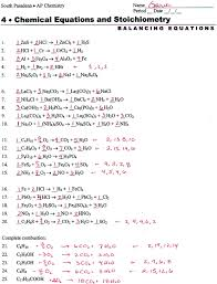 balancing chemical equations practice worksheet with answers worksheet word
