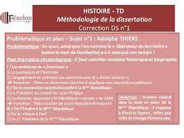 HISTOIRE   TD M  thodologie de la dissertation Correction DS n