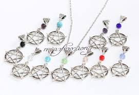 bead charm necklace images Antique silver pentagram star pentacle crystal bead charm jpg