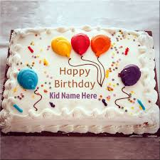 happy birthday cake pic with colorful balloons and name