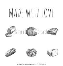 hand drawn cake sketches set collection stock vector 717596695