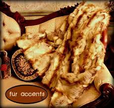 Fox Fur Blanket Amazon Com Fur Accents Faux Fur Throw Blanket Brown And Cream