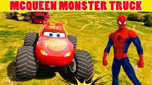 lightning mcqueen monster truck videos color lightning mcqueen monster truck w spiderman cartoon for
