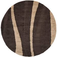 safavieh florida shag dark brown beige 5 ft x 5 ft round area