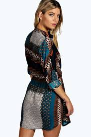 boo hoo clothing blair paisley shirt dress boohoo