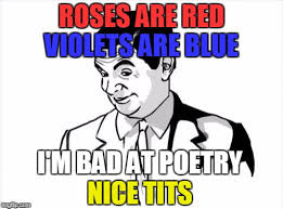 Poetry Meme - roses are red violets are blue i m bad at poetry nice tits meme
