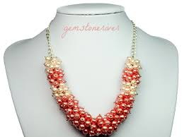 bib necklace designs images Chunky bold cluster bib statement necklace sylvanna coral pink jpg