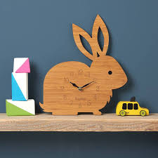 60s Clock Rabbit Personalised Childrens Clock By Owl U0026 Otter