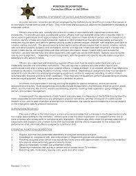 Merchandiser Job Description Resume by Cover Letter For Correctional Officer Back To Free Correctional