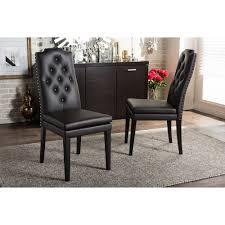 Brown Leather Dining Chairs With Nailheads Baxton Studio Dylin Modern And Contemporary Dark Brown Faux