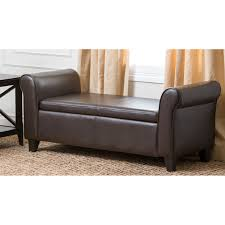 storage ottoman bench brown abbyson living ci d10363 ben easton bonded leather storage ottoman