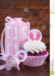 vintage style baby shower cupcake and gift box stock photo image