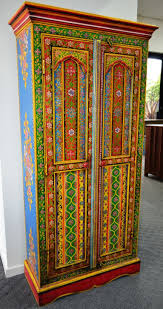 hand painted wardrobe cupboard storage cabinet closet indian multi