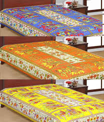 Cotton Single Bed Sheets Online India Uniqchoice Jaipuri Traditional Print Cotton Three Single Bed Sheet