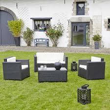 canapé jardin résine salon de jardin en résine tressée celio noir teckandco