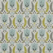 aqua and grey floral cotton upholstery fabric yellow grey