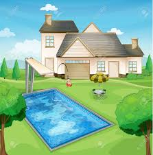 Home Clipart House Clipart Pool Pencil And In Color House Clipart Pool