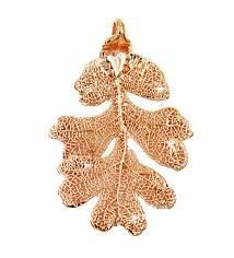 real leaf pendant oak in gold zhannel